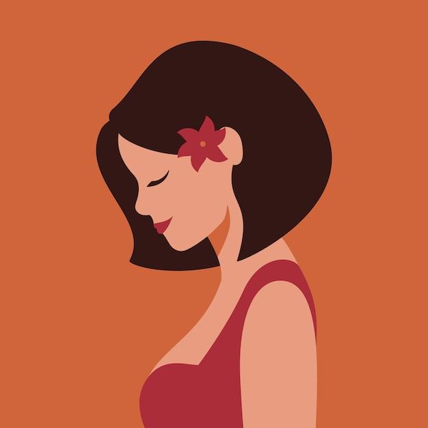De profil belle jeune femme souriante avec une fleur dans les cheveux. Vecteur Premium