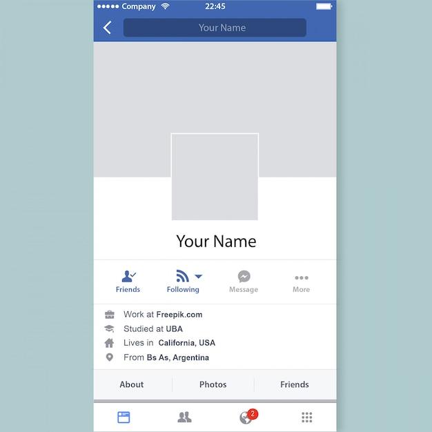 Profil facebook Vecteur Premium