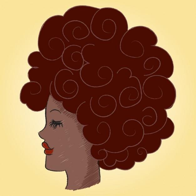 Profil d'une femme afro avec blackpower Vecteur gratuit