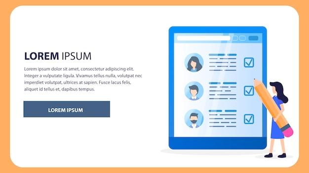 Profil de réseaux sociaux d'employé woman big pencil Vecteur Premium