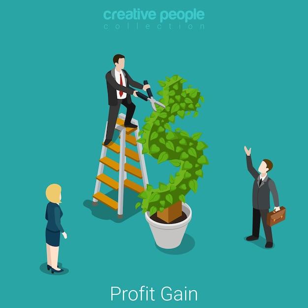 Profit Gain Investissement Réussi Récolte Plat Concept Financier D'entreprise Isométrique Homme D'affaires Coupe Les Feuilles Sur L'arbre De L'usine Dollar. Vecteur gratuit