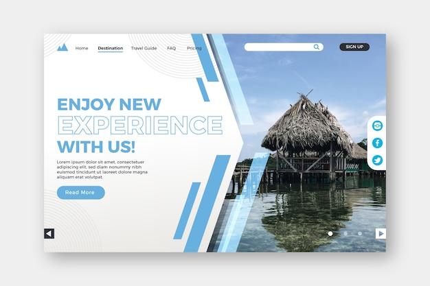 Profitez de nouvelles expériences page de destination Vecteur gratuit