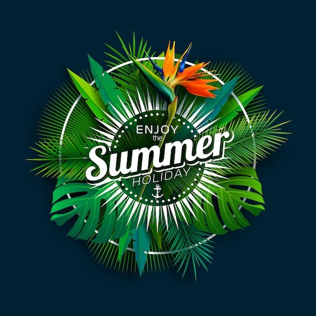 Profitez des vacances d'été avec des fleurs de perroquet et des plantes tropicales Vecteur Premium