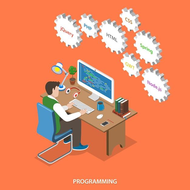 Programmation et développement de logiciels. Vecteur Premium