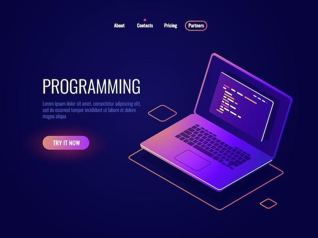 Programmation et écriture d'icône isométrique, développement de logiciel, ordinateur portable avec texte du code du programme Vecteur gratuit