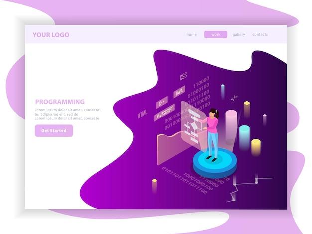 Programmation Indépendante De La Composition D'une Page De Destination Isométrique Avec Du Texte Modifiable Et Des Images Infographiques Avec Des Graphiques Vecteur gratuit