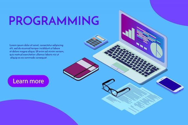 Programmation modèle de page de destination pour site de programmation programmeur. Vecteur Premium