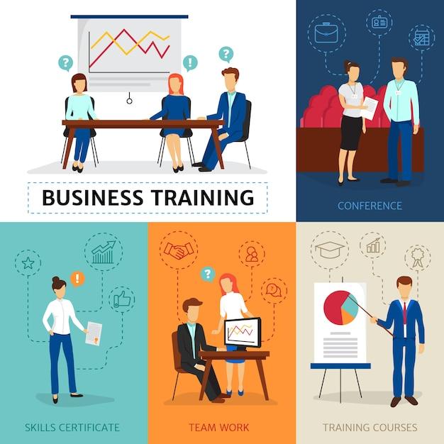 Programme de conseil en entreprise certifié avec conférences de formation et ateliers Vecteur gratuit
