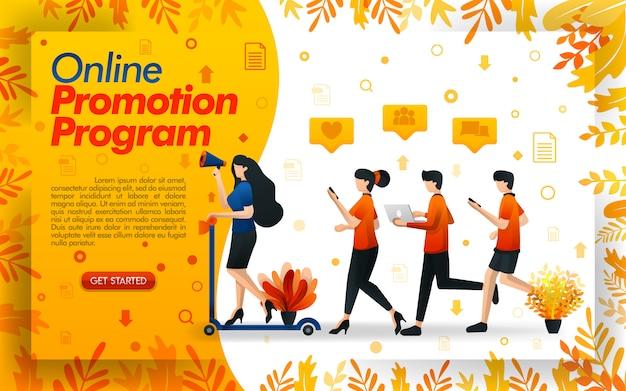 Programme de promotion en ligne avec des illustrations de personnes qui courent partout Vecteur Premium