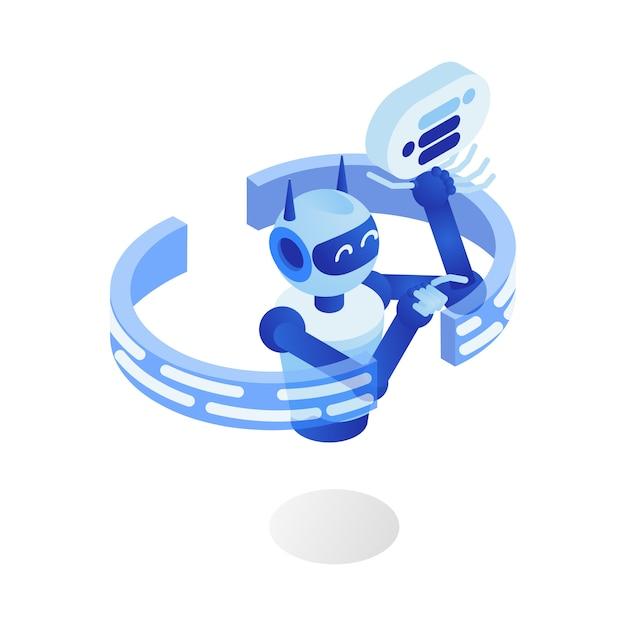 Programme de robot futuriste, assistant virtuel, chatbot, personnage de dessin animé 3d. Vecteur Premium