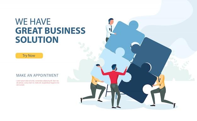 Programme de solution d'entreprise avec concept de design plat Vecteur Premium