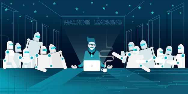 Programmeur barbu à lunettes Vecteur Premium