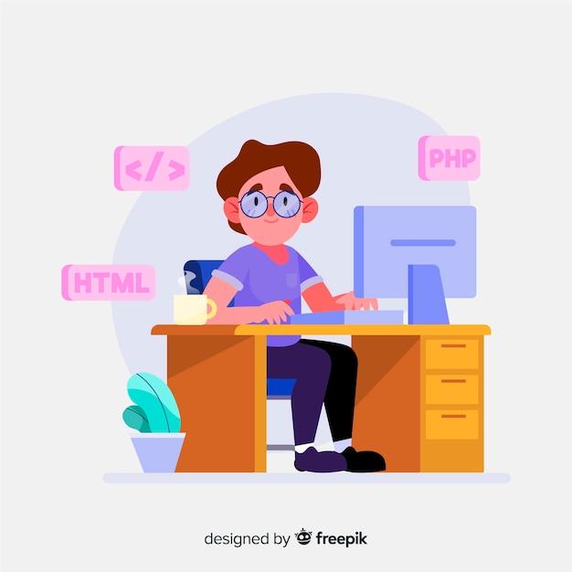 Programmeur dessiné à la main au travail Vecteur gratuit