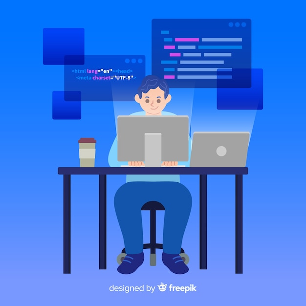 Programmeur faisant son travail au bureau Vecteur gratuit