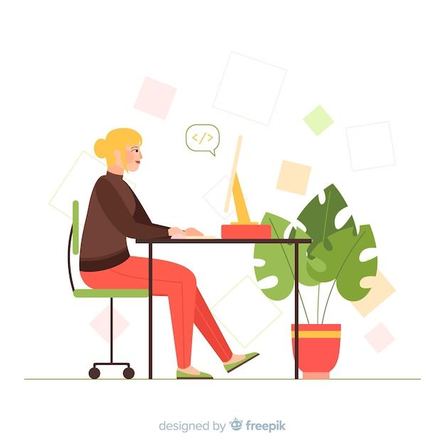 Programmeur féminin travaillant illustré Vecteur gratuit