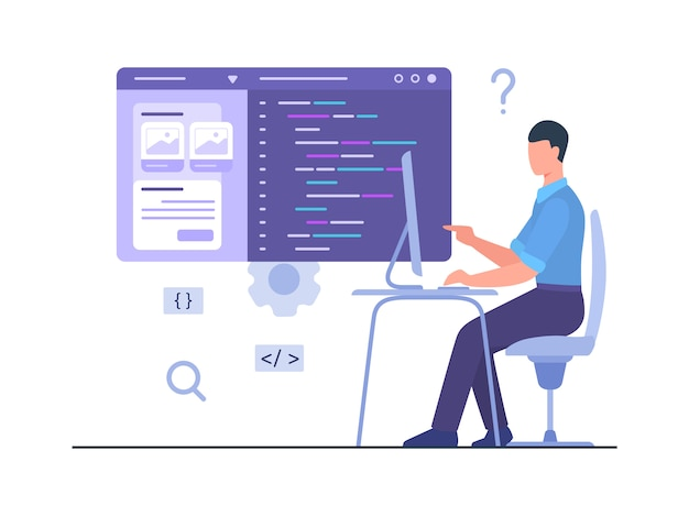 Programmeur Homme Assis Chaise Travail Sur Ordinateur Créer Une Application Mobile De Développement Avec Un Style De Dessin Animé Plat. Vecteur Premium