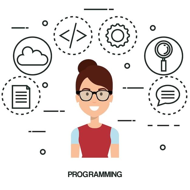 Programmeur De Langage Logiciel Avatar Vecteur Premium