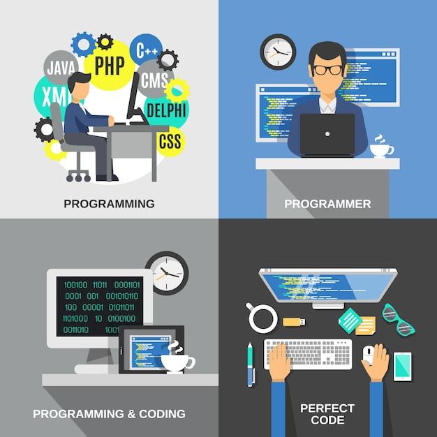 Programmeur plat set Vecteur gratuit