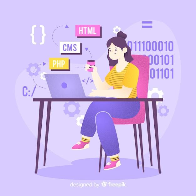 Programmeur travaillant avec cms Vecteur gratuit