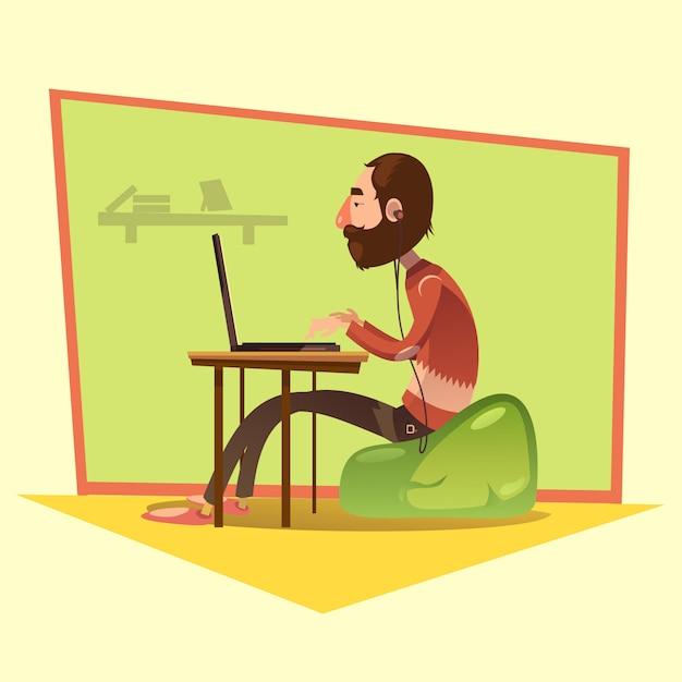Programmeur travaillant Vecteur gratuit