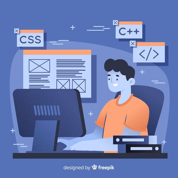Programmeur travaillant avec c ++ Vecteur gratuit