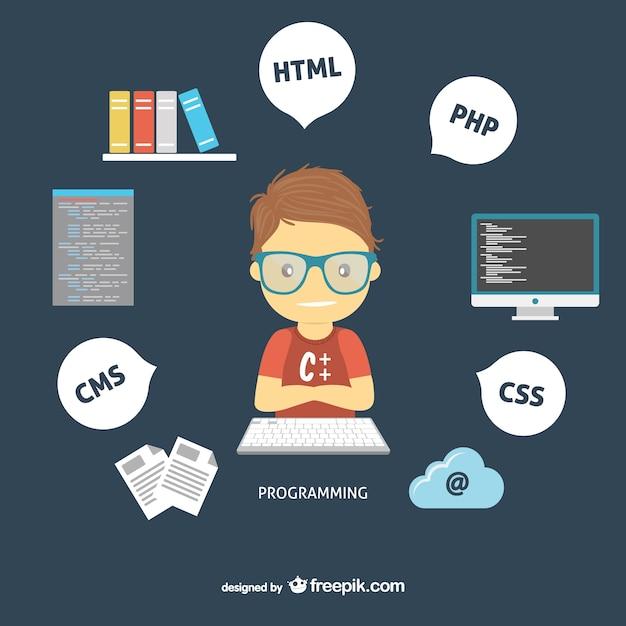 Programmeur Web Vecteur Premium