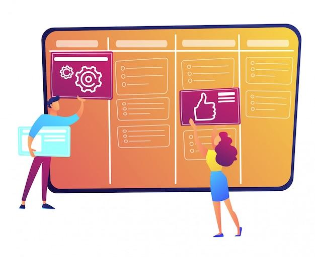 Programmeurs Mettant Des Cartes Sur L'illustration Vectorielle De Kanban Board. Vecteur Premium