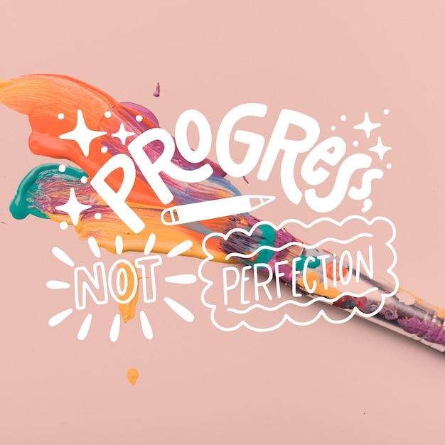Progression Ni Perfection Lettrage Vecteur gratuit
