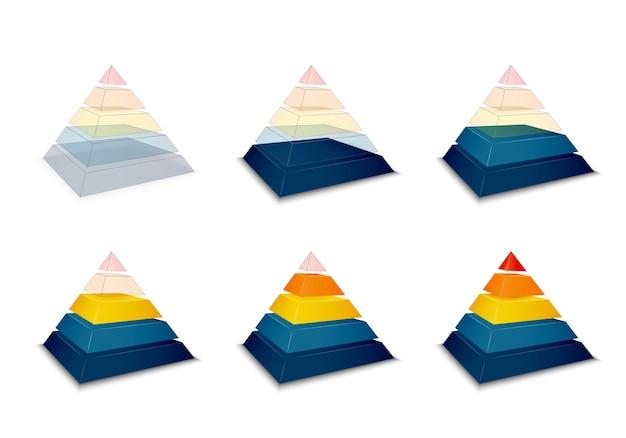 Progression pyramidale ou barre de chargement Vecteur gratuit