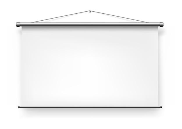 Projecteur D'écran, Tableau De Diapositives De Présentation Blanc Blanc, Tableau Blanc Affiche Une Maquette Isolée Réaliste. Fond De Projecteur D'écran Pliable Portable, Mur Vidéo De Projection De Présentation De Bureau Vecteur Premium