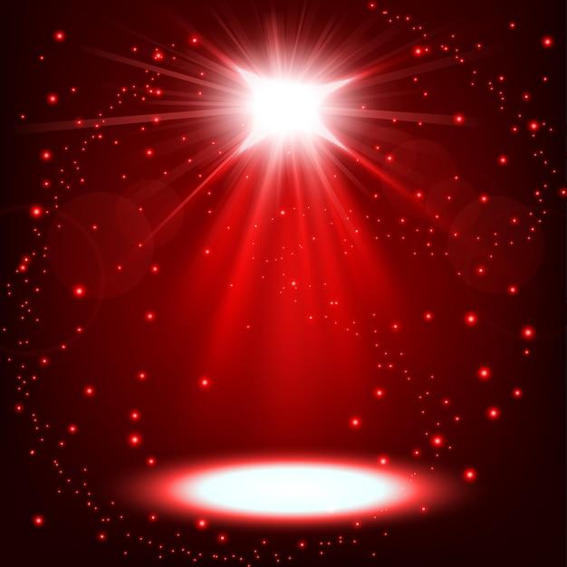 Projecteur rouge brillant avec des paillettes flottant Vecteur Premium