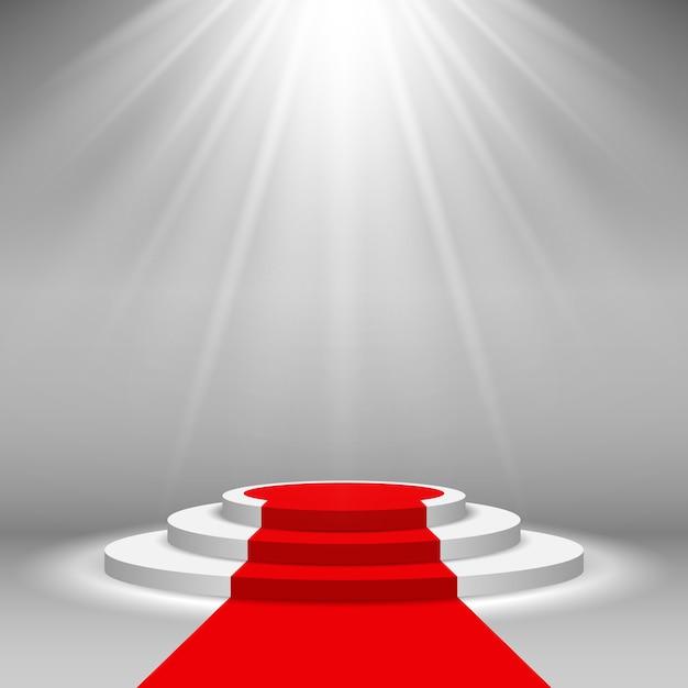Projecteur de scène illuminé avec tapis rouge Vecteur Premium