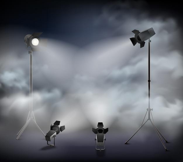 Projecteurs Dans Le Brouillard Vecteur gratuit