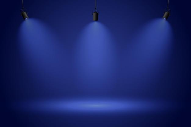 Projecteurs Sur Fond Bleu Foncé Vecteur Premium
