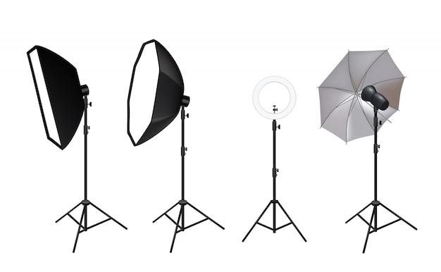 Projecteurs Réalistes. Accessoires Photo Vidéo Pour Softboxes De Studio Projecteurs Effets De Lumière Vive éclat De Brillance Photos Vecteur Premium
