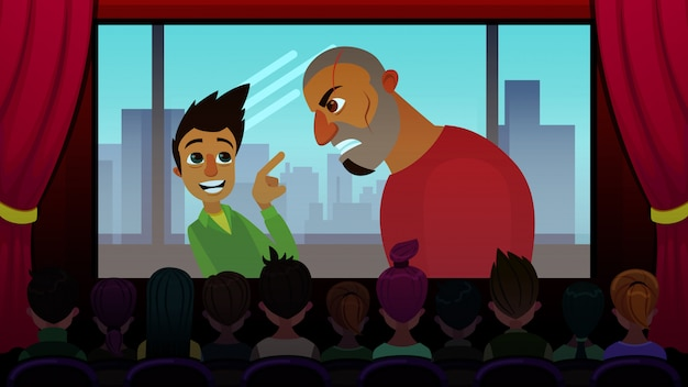 Projection de films d'aventure pour les adolescents cartoon flat. Vecteur Premium