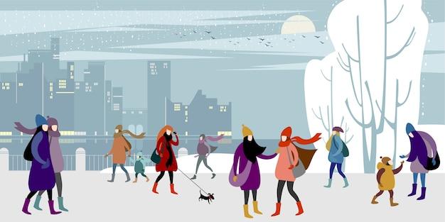 Promenade dans le quai d'hiver de la ville. Vecteur Premium
