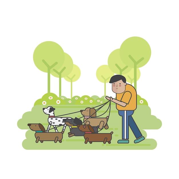Promeneur de chien promener une meute de chiens Vecteur gratuit