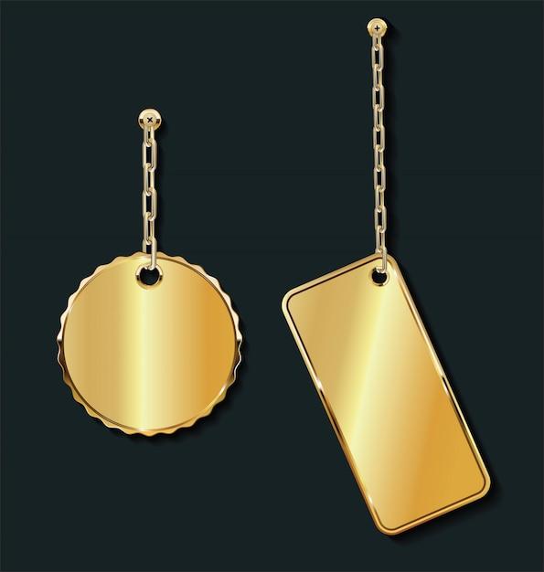 Promo étiquettes de vente vide or sur la collection de la chaîne d'or Vecteur Premium
