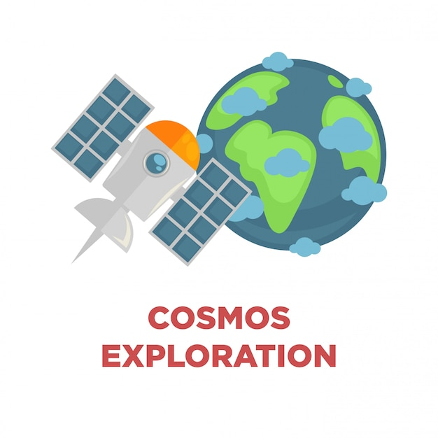 Promo d'exploration cosmos avec terre et satellite Vecteur Premium