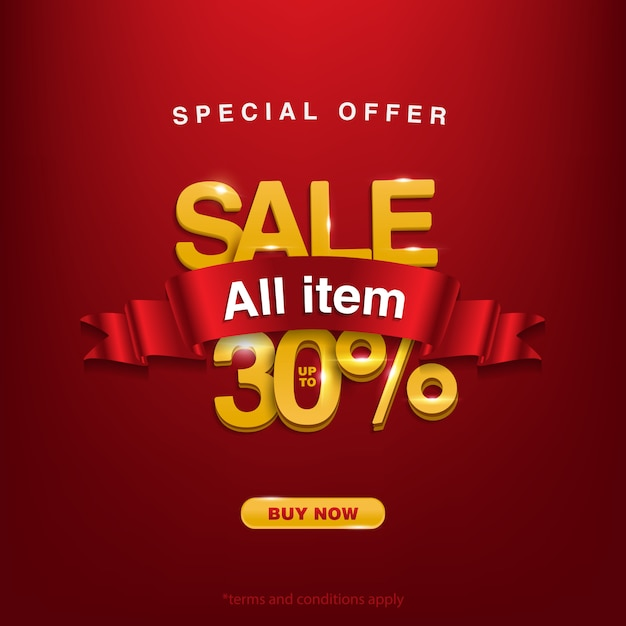 Promo, offre spéciale vente tous les articles jusqu'à 30% Vecteur Premium