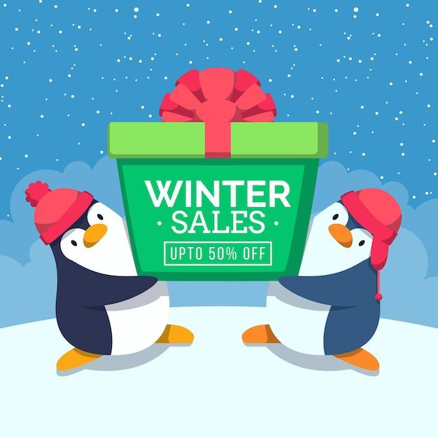 Promo De Soldes D'hiver Design Plat Avec Des Pingouins Vecteur gratuit