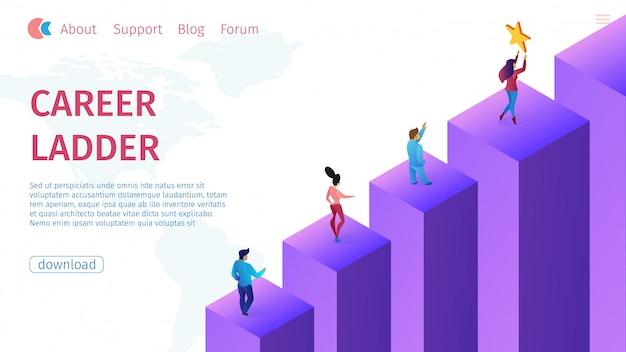 Promotion carrer ladder illustration vectorielle plane. Vecteur Premium