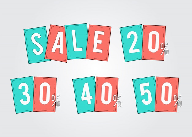 Promotion Des étiquettes De Vente En Pourcentage Des Ensembles 20, 30, 40 Et 50 Vecteur Premium