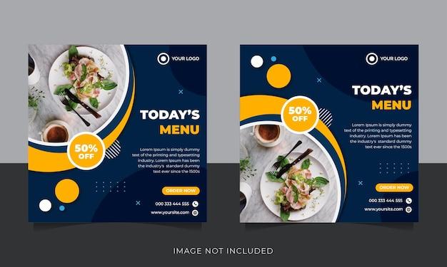 Promotion Des Médias Sociaux Alimentaires Et Conception De Publication De Bannière Instagram Vecteur Premium