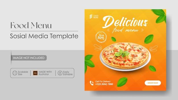 Promotion Des Médias Sosial Pizza Food Et Modèle De Conception Instagram Vecteur Premium