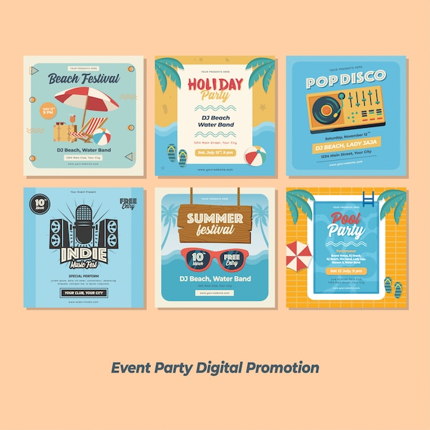 Promotion numérique de la fête du festival Vecteur Premium