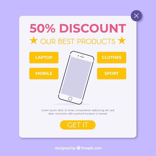 Promotion pop up avec un design plat Vecteur gratuit
