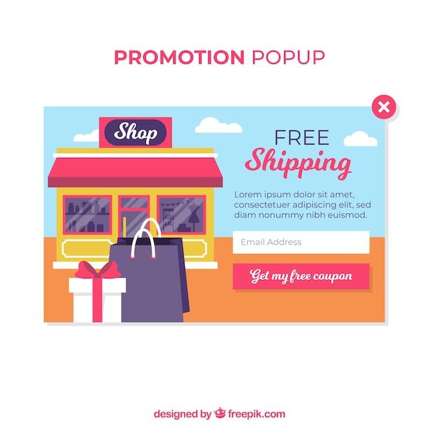 Promotion pop up template avec un design plat Vecteur gratuit