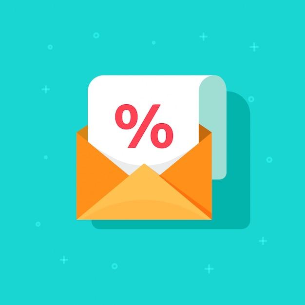 Promotion de publicité par courrier électronique sur l'enveloppe avec bande dessinée plat icône vecteur réduction pourcentage Vecteur Premium